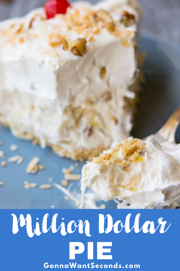This creamy, no bake, Million Dollar Pie is the easiest pie ever to make. Its luscious tropical filling is utterly delicious. An ideal dessert for summer! #Best #Million #Dollar #Pie #Recipe #Easy #WithCherries #Desserts #Families #Treats #Parties #ComfortFoods #SweeetTreats #Simple #Coconut #Ideas #Fun #Fresh #Fruit #Pineapple