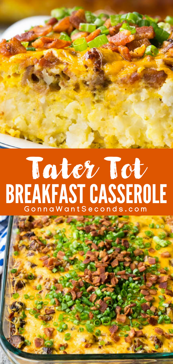Our Easy Tater Tot Breakfast Casserole takes minutes to assemble and the result is a dish that's perfect for family breakfast, fancy brunch, or a church potluck! A cheesy, comfort food casserole loved by kids and adults! This tater tot breakfast casserole is truly the perfect one-dish meal. #TaterTot #Breakfast #Casserole #Sausage #Bacon #Bake #Crockpot #Easy #Egg #MakeAhead #Brunch #Cheesy #Skillet #Simple #Best #Quick #ComfortFoods #Kids #Meals #Dishes #Ovens #Milk