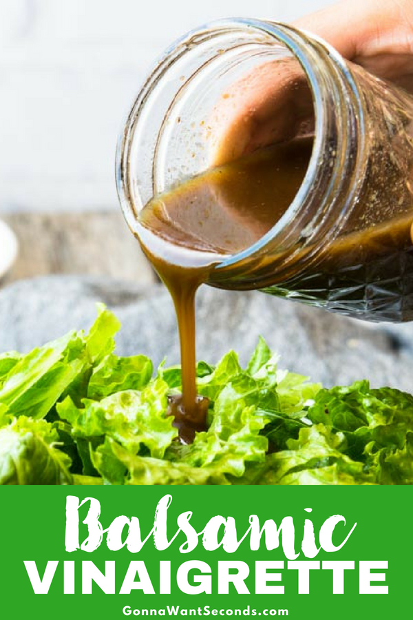 Our balsamic vinaigrette recipe will become your favorite salad dressing! Low in acid, with a delicious sweetness and great texture. So Easy to Make! #Balsamic #Vinaigrette #Homemade #Dressing #Easy #Recipe #GlutenFree #Salad #Light #Best #Garlic #Dijon #Healthy #OliveOil #Vinegar #Sugar #Shallot #ItalianSeasoning #Salad #Tangy