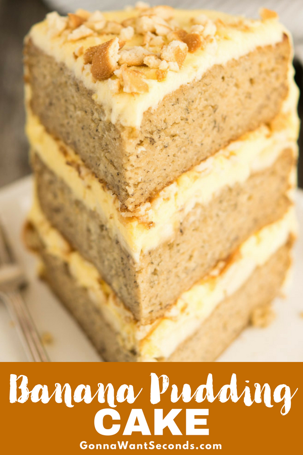Our Banana Pudding Cake is an incredibly moist three-layer dream cake with a cream cheese pudding filling, lots of bananas, and a luscious frosting. #Banana #Pudding #Cake #Recipe #FromScratch #Layer #Southern #Homemade #NillaWafer #Mix #Frosting #Moist #HowToMake #TripleLayerCake #InstantVanillaPudding #Whip #Topping #Vanilla #Wafers #SourCream #Ripe #CreamCheese #PuddingFilling