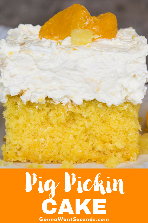 Our crowd-pleasing Pig Pickin Cake is an incredibly moist, delicious, refreshingly fruity delight. Super easy to make, it's sure to become a new favorite! #Pig #Pickin #Cake #MandarinOranges #Oranges #Pineapple #YellowCakeMix #9x13 #SheetCake #Easy #Best #Desserts #Dishes #Families #Food #Parties #Holidays #Fun #Treats #Baking #Tidbits #Vanilla #PuddingMix #WhippedTopping #Summer