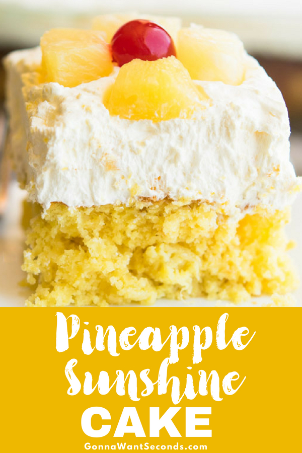 Our pineapple sunshine cake is a moist, delicious treat that is super easy to make. Fruity, light, and refreshing its the perfect dessert anytime!! #Pineapple #Sunshine #Cake #Recipes #MandarinOranges #Fun #Desserts #Families #Cooking #Sugar #Kids #Sweets #Yellow #CakeMix #Moist #Summer #Crushed #VanillaPuddingMix #WhippedTopping #PineappleTidbits #Maraschino #Cherries  #Easy