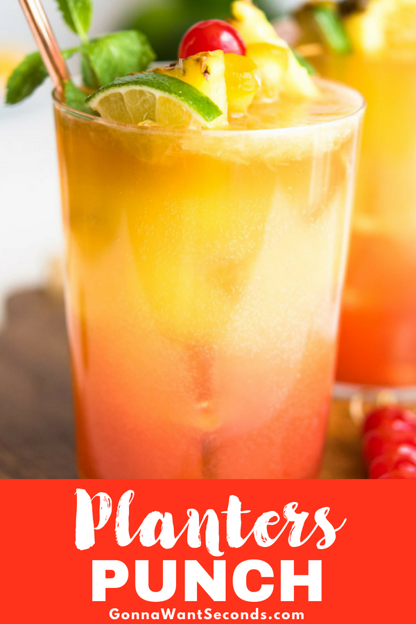Our Planters Punch is the perfect combination of sparkling and sweet, a refreshing summer drink for every gathering! Make it by the glass or pitcher. #Planters #Punch #Recipe #Pitcher #ForACrowd #Lime #Rum #Dark #Cocktail #Drink #Orange #Juice #Pineapple #Lime #Grenadine #Sparkling #Water #Maraschino #Cherry #Wedge #Slice #Summer #Alcohol #JamaicanPlanter #Party