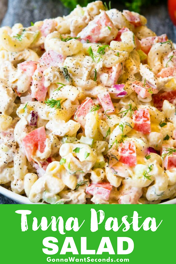 Our Tuna Pasta Salad, made with creamy dressing, fresh vegetables, and fresh herbs, is a true summer table staple. Works perfectly as a main dish or a side! #Tuna #Pasta #Salad #Cold #Easy #Best #Mayonnaise #Creamy #Classic #Simple #Dinner #GreekYogurt #Dill #Canned #Light #Celery #Traditional #MainDishes #Tomato #MealPrep #AppleCider #Vinegar #ComfortFoods