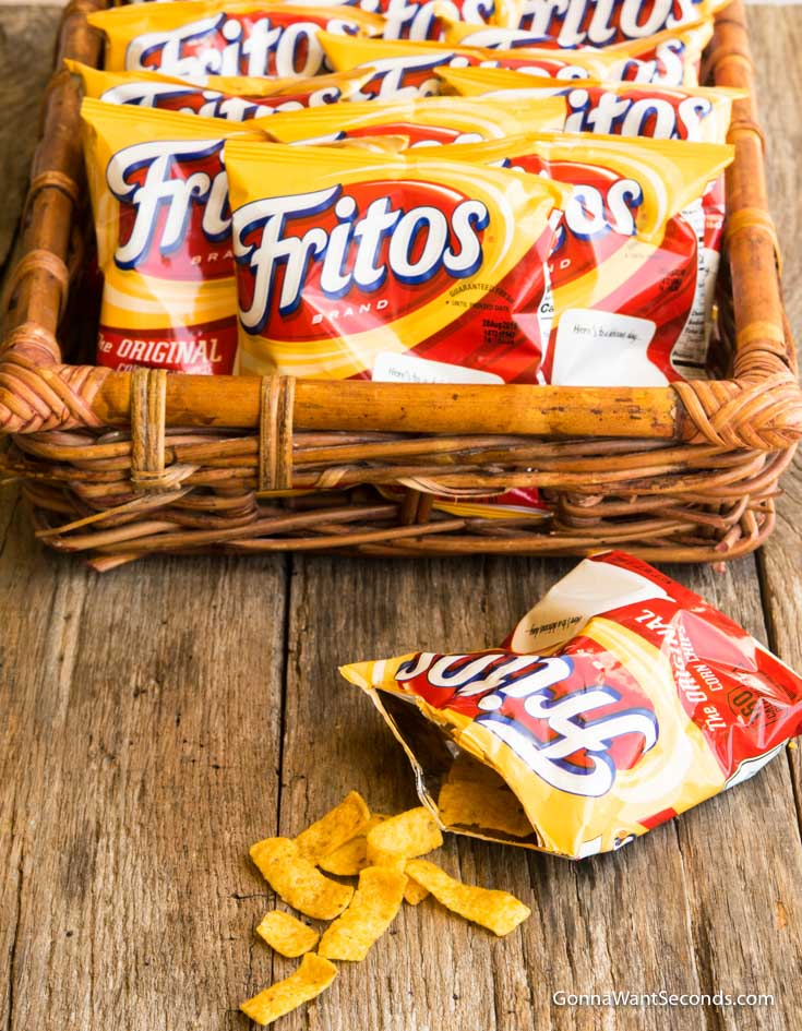 Bags of Fritos in a rectangular woven basket