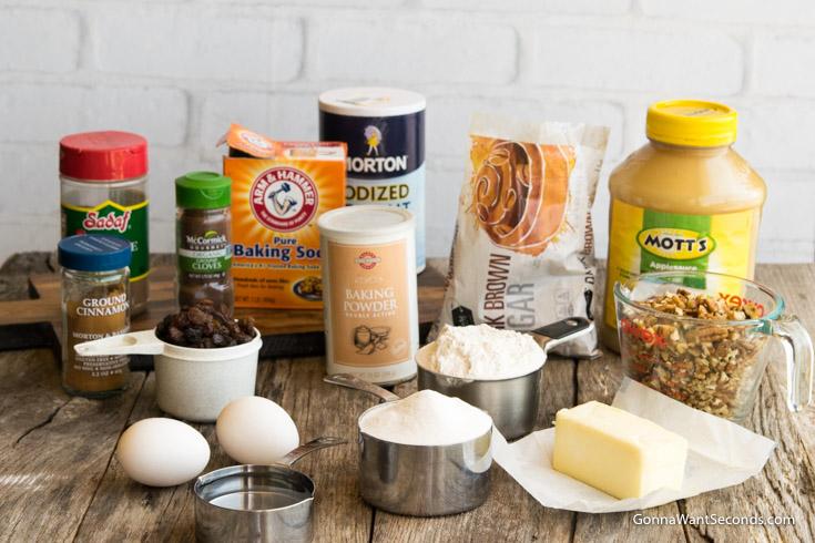 Prepared ingredients for Applesauce Cake