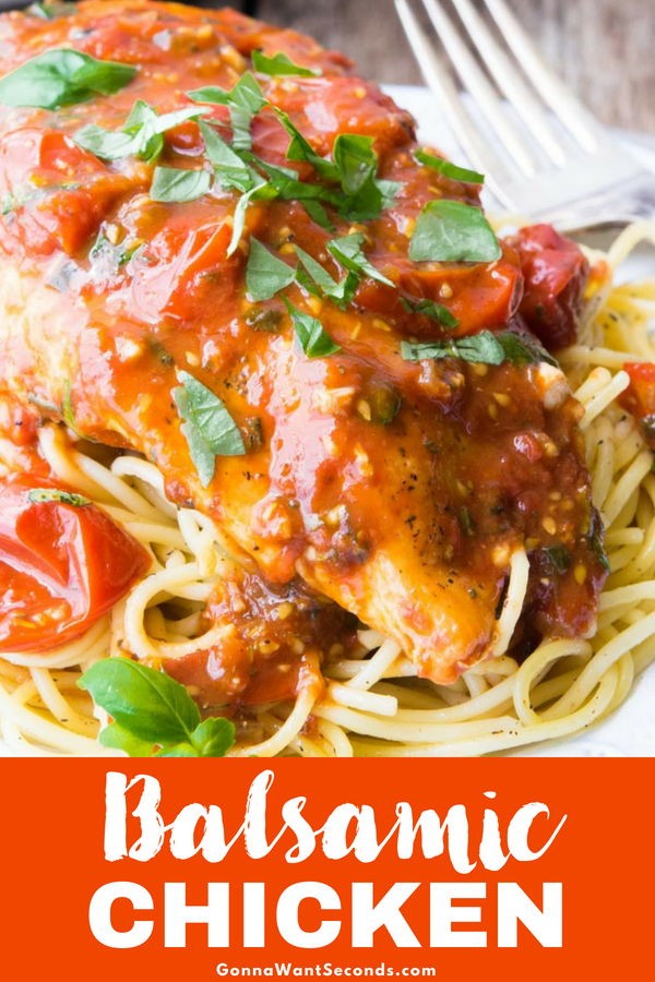 Our One Skillet Balsamic Chicken is delicious for any Season! The sauce is made with fresh grape tomatoes which are available year round. Easy Delish Dinner #Balsamic #Chicken #Breast #Skillet #Healthy #OnePan #Easy #Pasta #Recipes #Dinner #Stovetope #Grape #Tomatoes #Rosemary #Sauce #Vinegar #Basil #NoMarinatingTime #Fresh #ThickSauce #PanFry #Weeknight