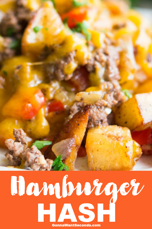 Hamburger Hash is wonderful family comfort food that combines seasoned potatoes, veggies, cheese & hamburger to create an easy one skillet meal. #Hamburger #Hash #Recipe #Skillets #Easy #GroundBeef #Veggies #Healthy #ComfortFoods #Cheese #Families #GlutenFree #Dishes #Meat #Cooking #QuickMeals #MainCourses #ChiliPowder #OnePan #Dinner