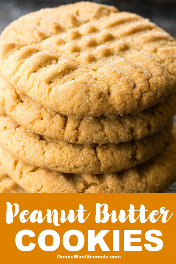 Our old-fashioned Peanut butter cookies are thick, soft and chewy. They're easy to put together with ingredients you probably already have. #PeanutButter #Cookies #Easy #Chewy #Healthy #Best #Soft #Recipe #KidFriendly #Dessert #Butter #GranulatedSugar #BrownSugar #Freezer #MakeAhead #Dough #Homemade #School #Simple #Tender