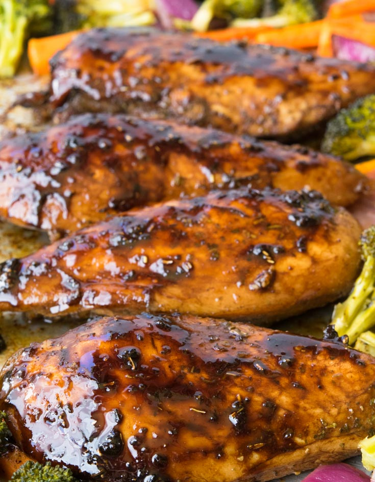 Honey Balsamic Sheet Pan Chicken on a sheet pan