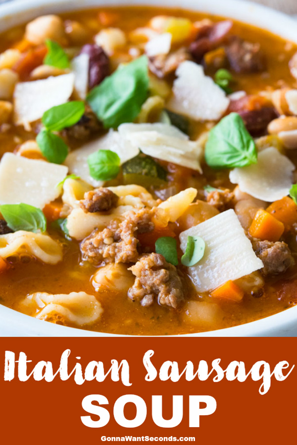 Savory sausage, pasta and more merge to create one of the best Italian Sausage Souprecipes around. A taste of Florence without leaving your kitchen! #ItalianSausageSoup #ItalianSoup