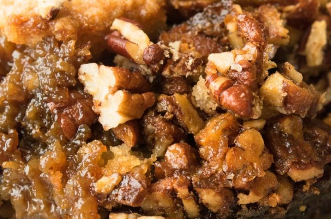 Pecan Pie Cobbler on a plate