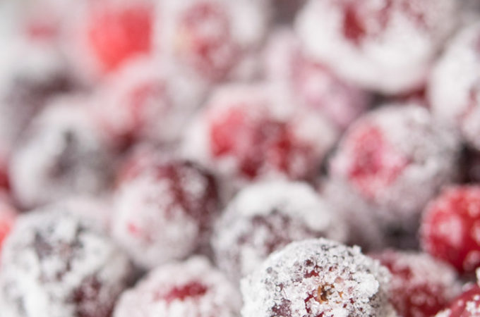 Sugared Cranberries on a plate