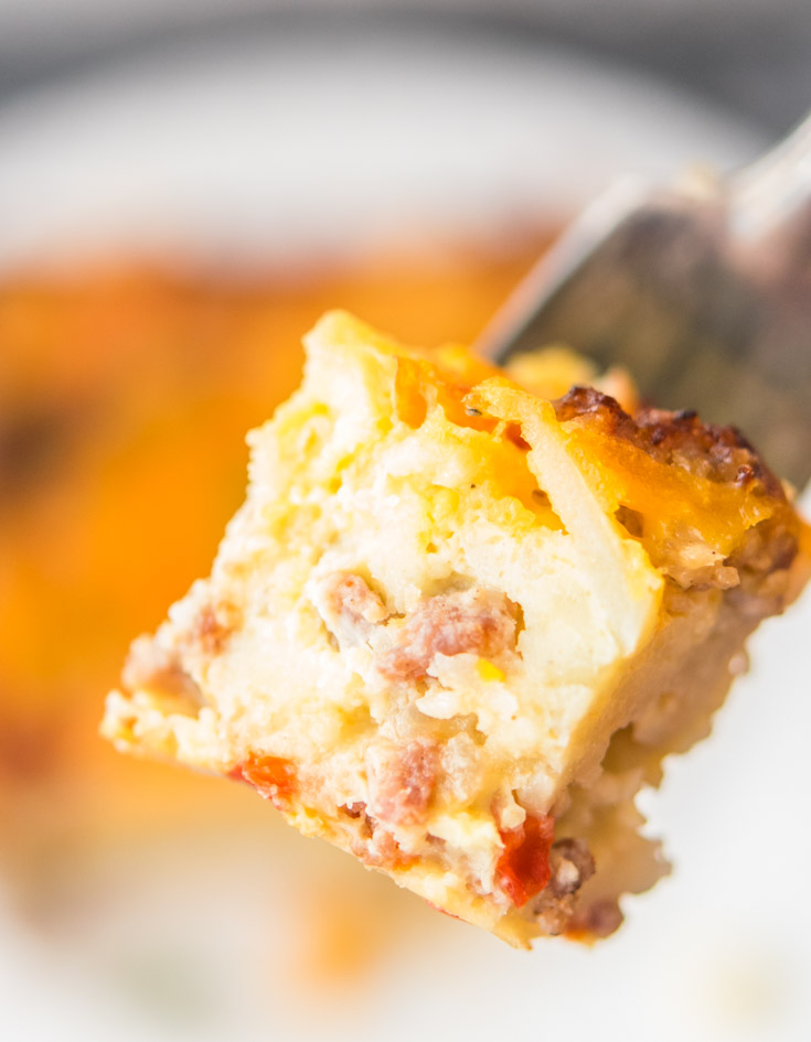 Bisquick Breakfast Casserole in a fork, close up