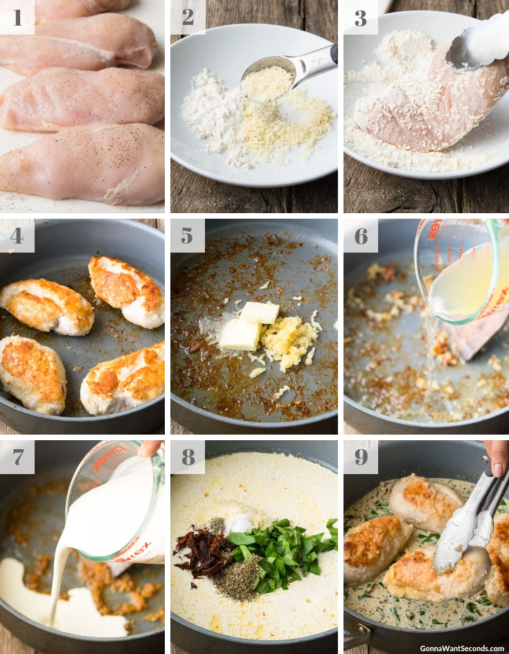 Step By Step How To Make Creamy Tuscan Garlic Chicken