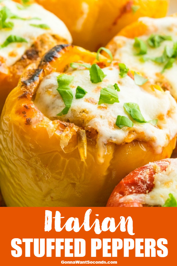Our Italian Stuffed Peppers have a meaty stuffing bursting with classic Italian flavors, marinara sauce, and cheese all packaged up in a sweet bell pepper! #ItalianStuffedPeppers #StuffedPeppers