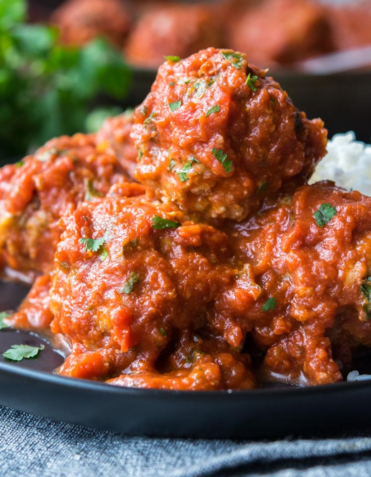 Mexican Meatballs with rice, on a plate