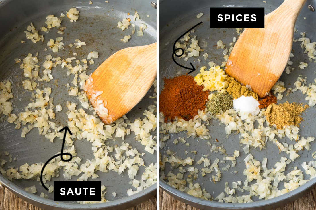 How to make Taco Meat recipe, sauteing aromatics and adding spices