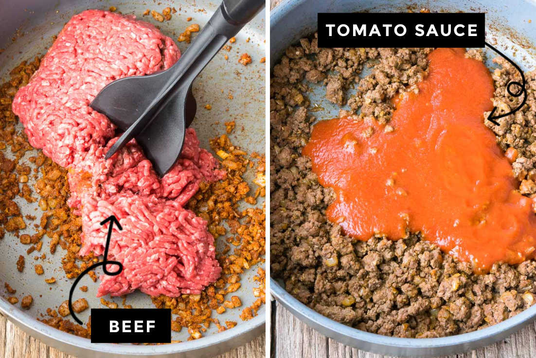 How to make Taco Meat recipe, browning the beef and adding tomato sauce