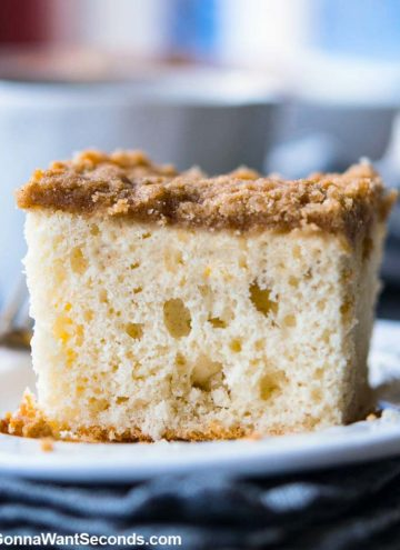 A slice of Bisquick Coffee Cake on a plate