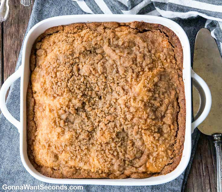 Bisquick Coffee Cake in a baking dish, top shot