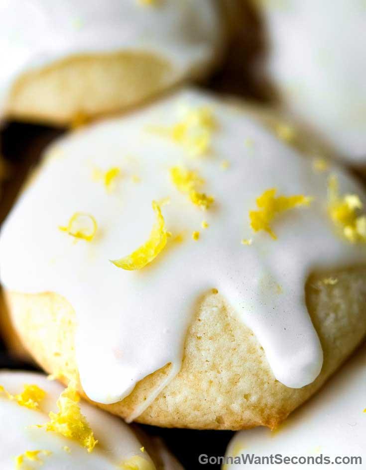 Lemon Ricotta Cookies with lemon glaze, garnish with lemon zest