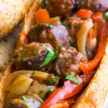 Italian Sausage and Peppers in an Italian sausage rolls