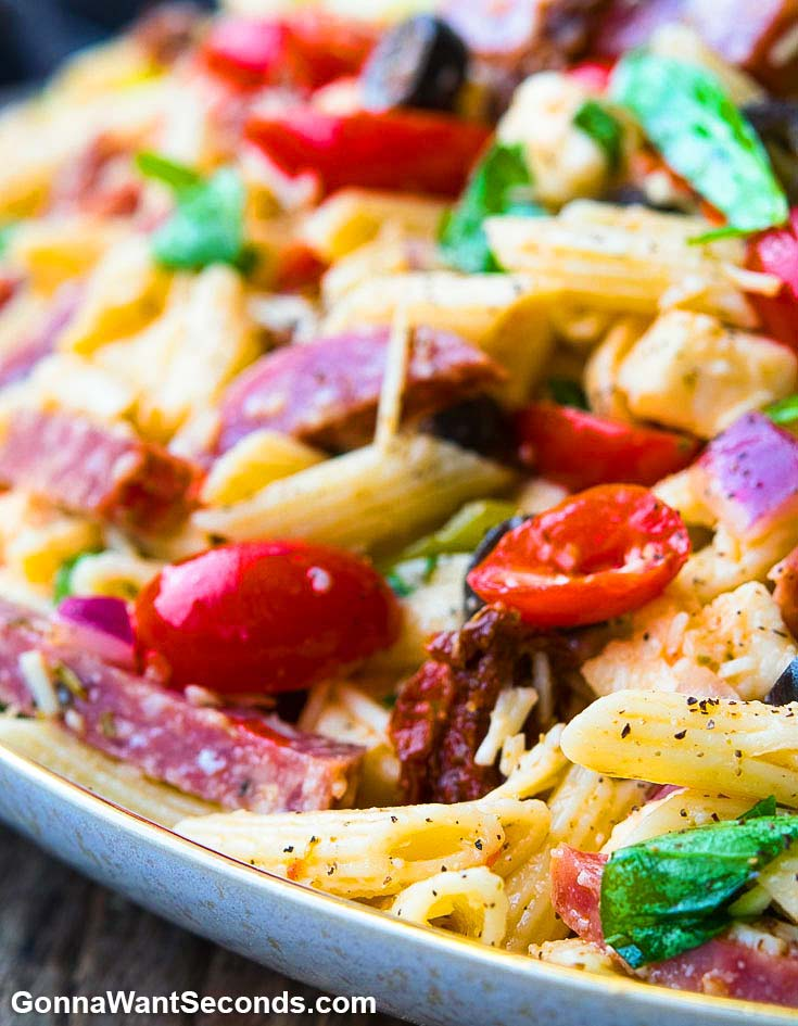 Italian Pasta Salad in a shallow serving bowl, close up