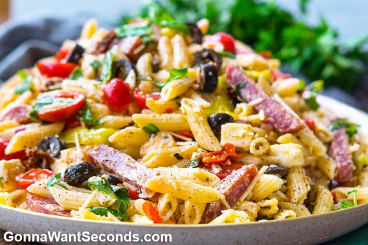Italian Pasta Salad in a shallow serving bowl