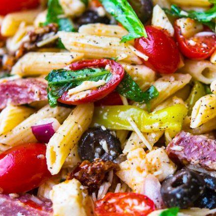 Italian Pasta Salad, close up