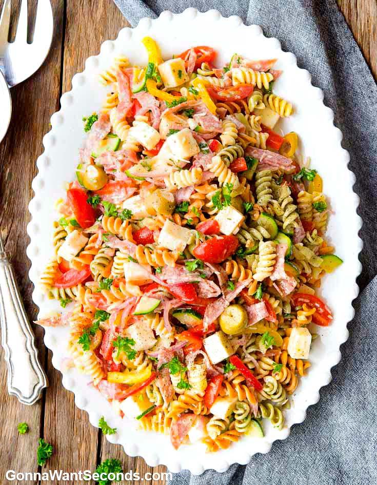 Pasta Salad on an oval serving platter