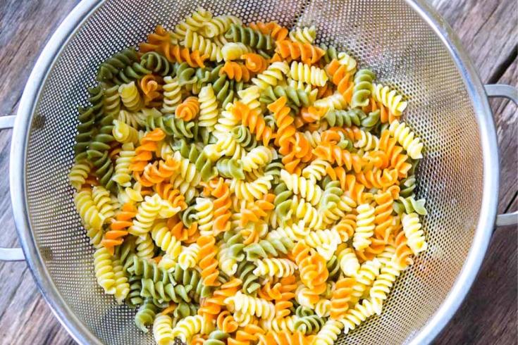 Pasta in a strainer