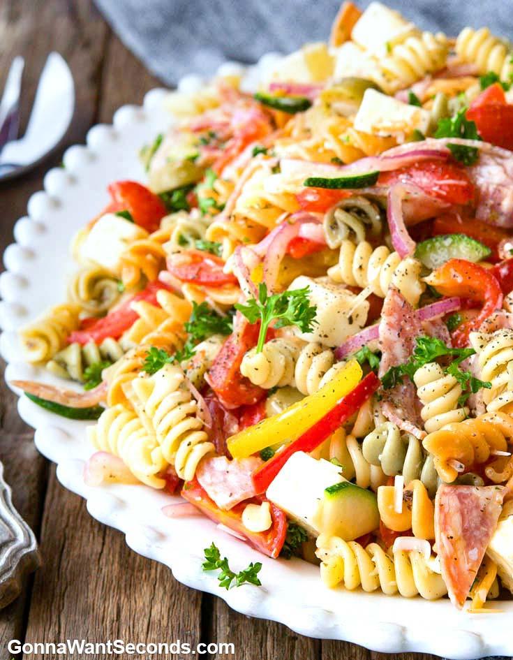 Pasta Salad on an oval serving platter, close up