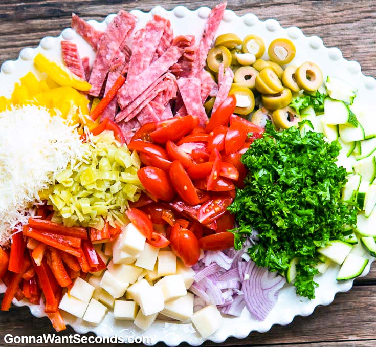 Chopped Ingredients for Pasta Salad