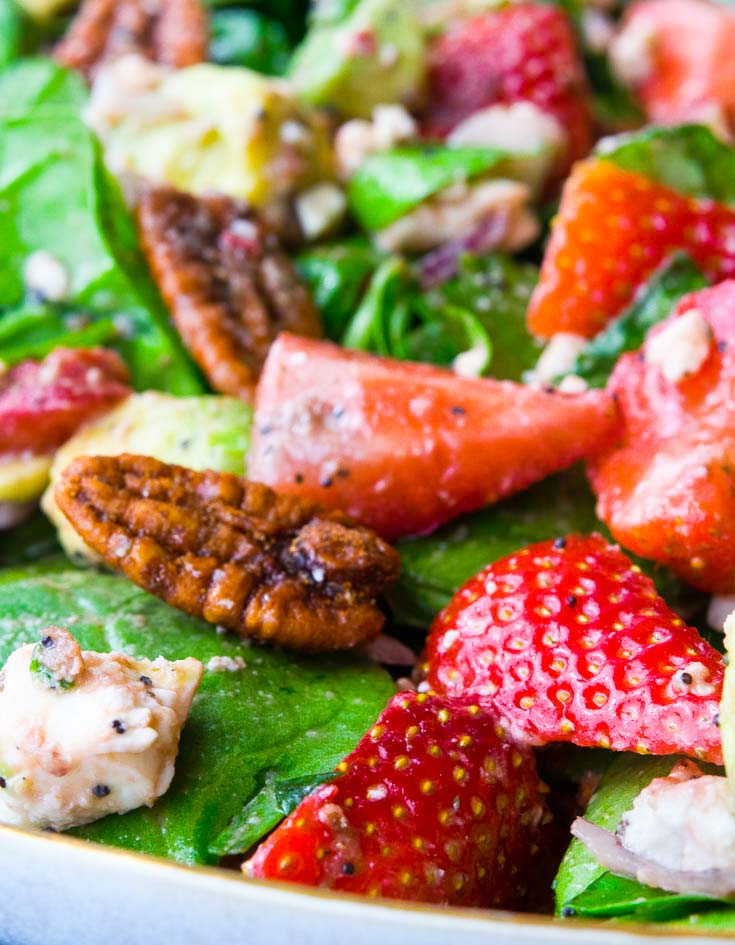 Strawberry Spinach Salad on a plate, close up