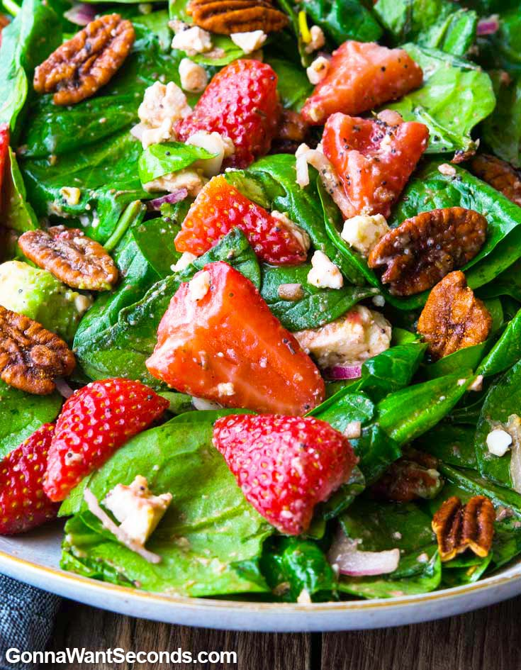 Strawberry Spinach Salad on a plate