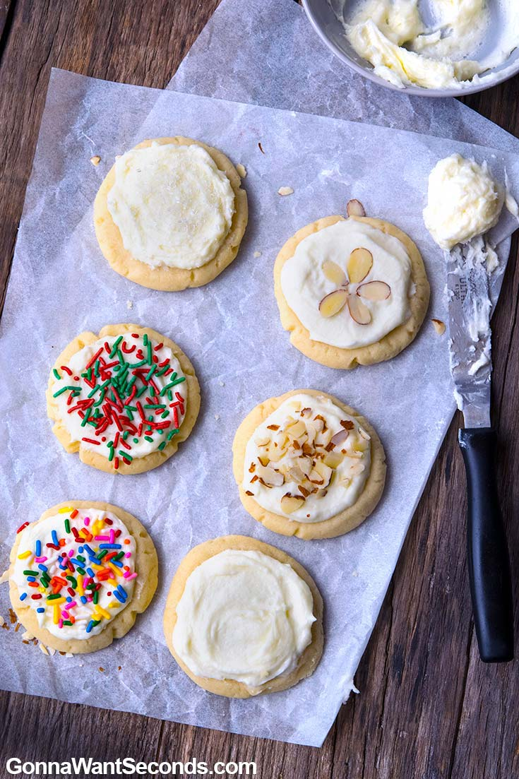Almond Cookies with frosting with different decorations