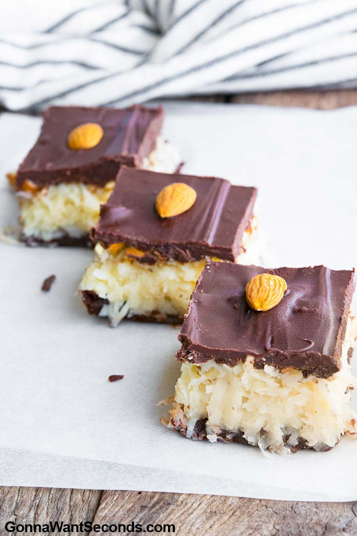 Slices of Almond Joy Bars, arranged diagonally