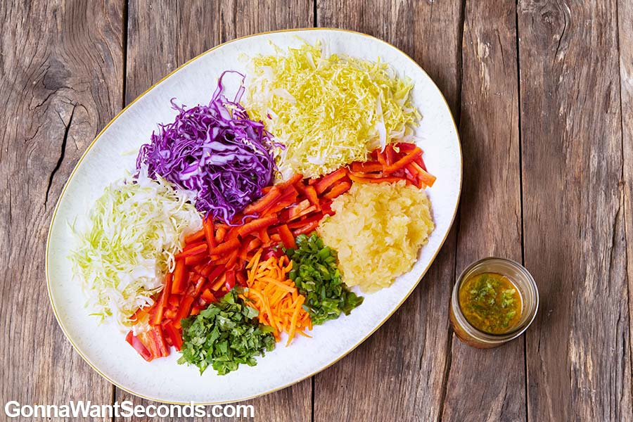 Prepared ingredients for Asian Coleslaw on a plate