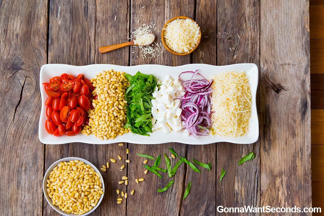 Pesto Pasta Salad chopped ingredients