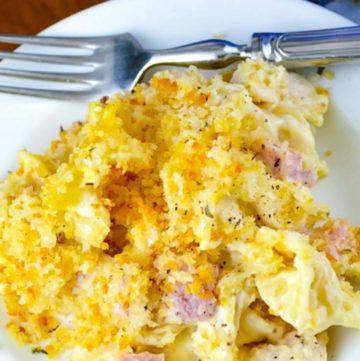 Chicken Cordon Bleu Casserole on a plate with fork
