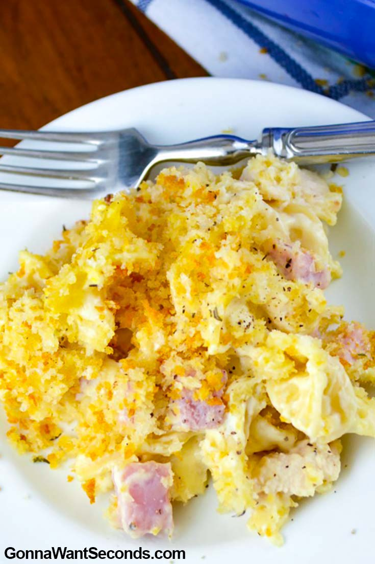 Chicken Cordon Bleu Casserole on a plate with fork
