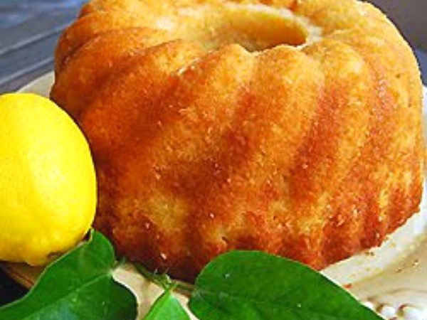 Lemon Pound Cake with fresh lemon on the side