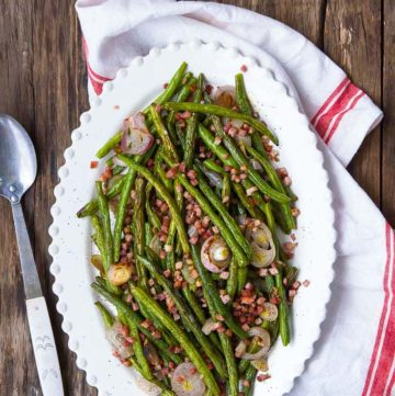 Roasted Green Beans on an oval serving plate