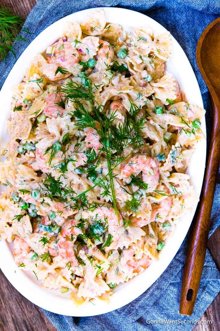 Shrimp Pasta Salad on a serving platter