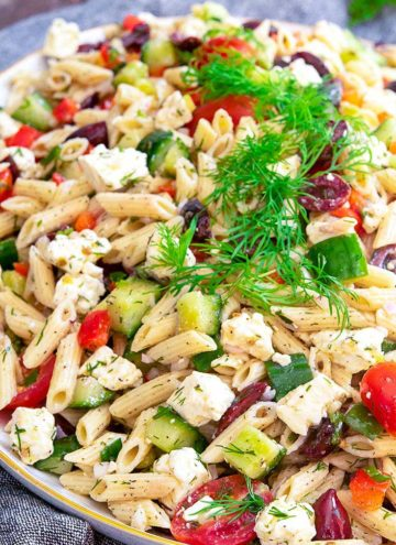 Greek Pasta Salad in an oval serving dish