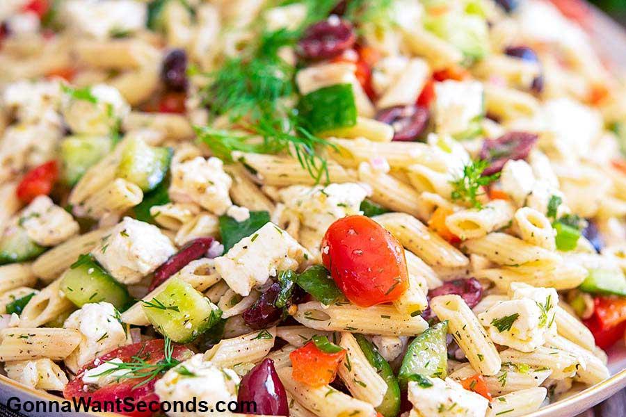 Greek Pasta Salad, close up