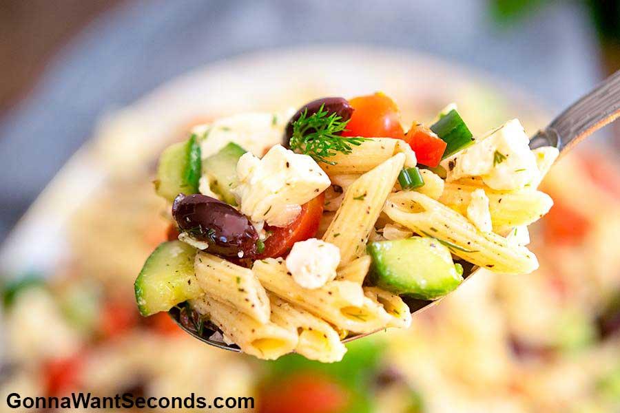 Greek Pasta Salad on a spoon