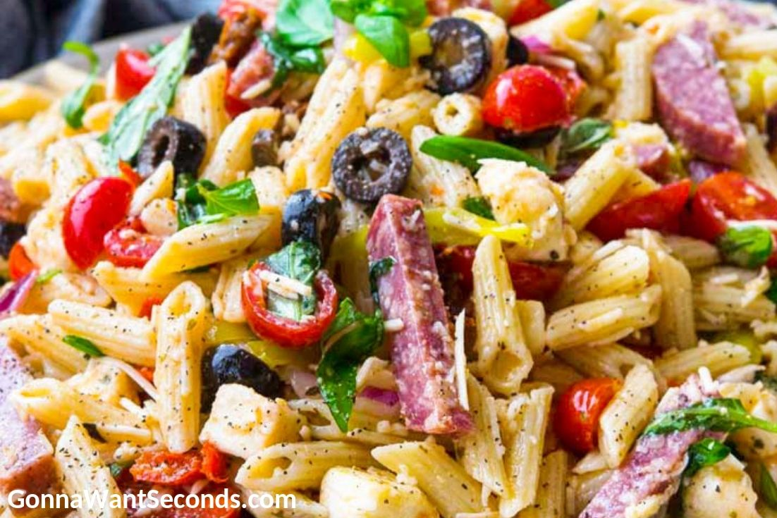 Italian Pasta Salad, close up