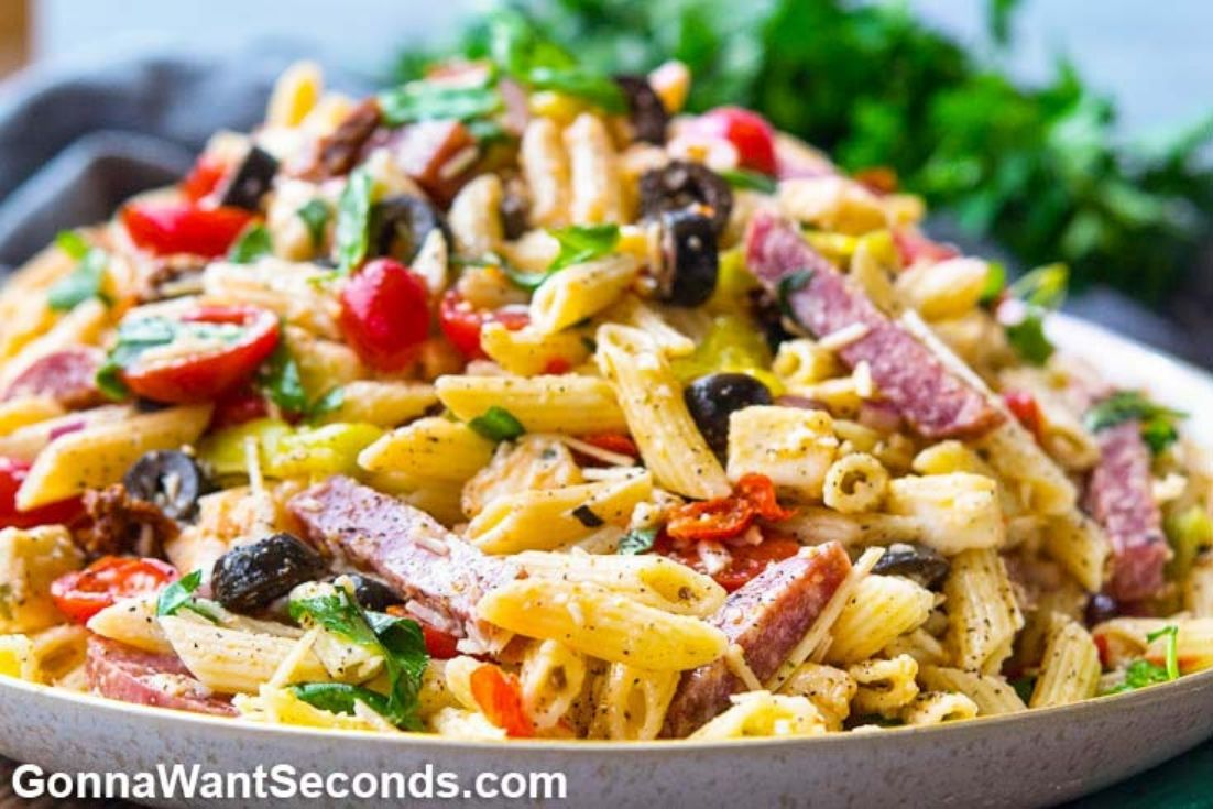 Pasta Salad Recipes: Italian Pasta Salad on a shallow serving plate
